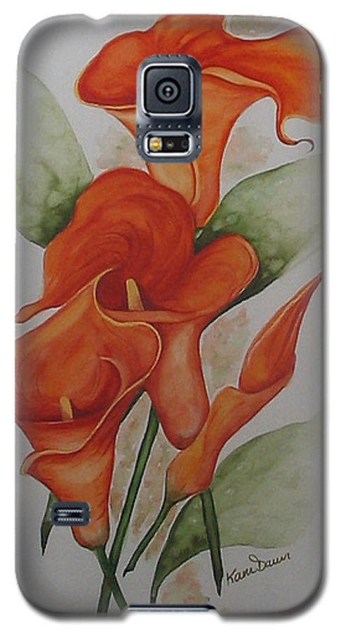 Floral Orange Lily Galaxy S5 Case featuring the painting Orange Callas by Karin Dawn Kelshall- Best