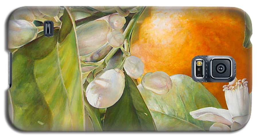 Floral Painting Galaxy S5 Case featuring the painting Orange Fleurie by Dolemieux