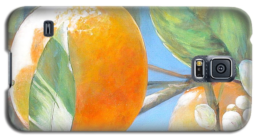 Floral Painting Galaxy S5 Case featuring the painting Orange by Muriel Dolemieux