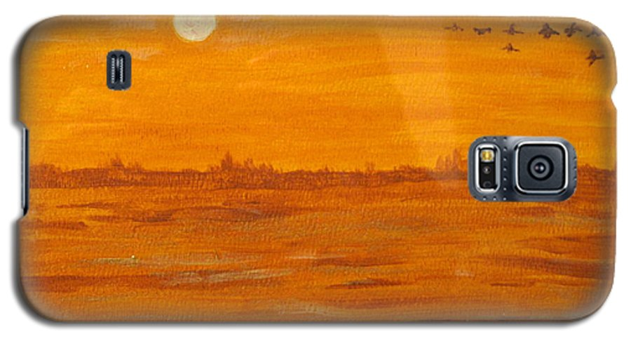 Orange Galaxy S5 Case featuring the painting Orange Ocean by Ian MacDonald