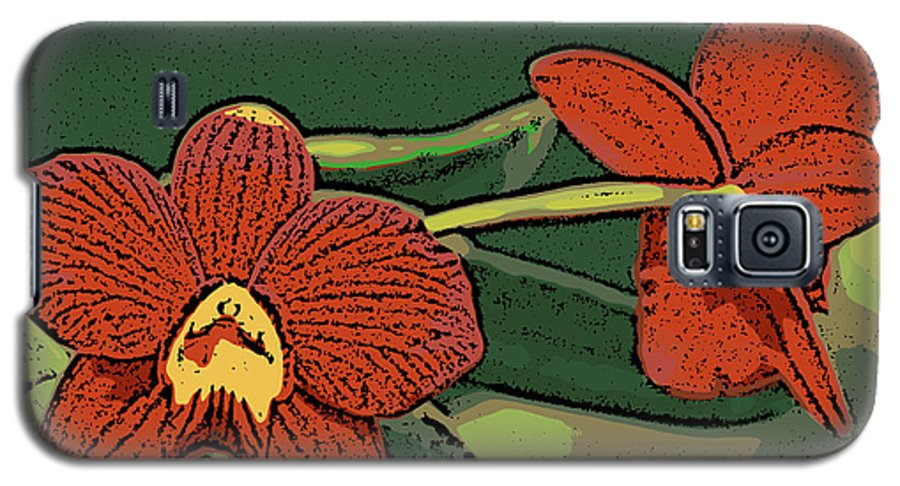 Orchid Galaxy S5 Case featuring the photograph Orange Orchids by Ann Tracy