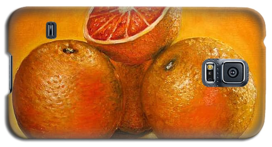 Oranges Galaxy S5 Case featuring the painting Oranges Original Oil Painting by Natalja Picugina