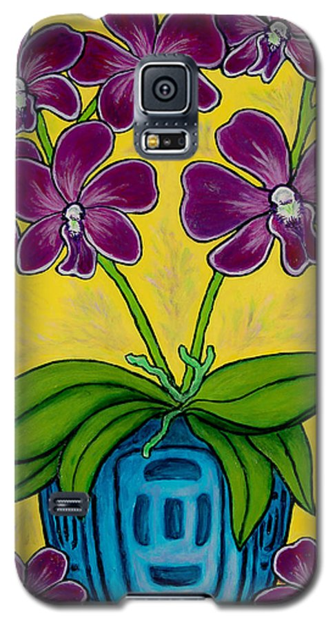 Orchids Galaxy S5 Case featuring the painting Orchid Delight by Lisa Lorenz
