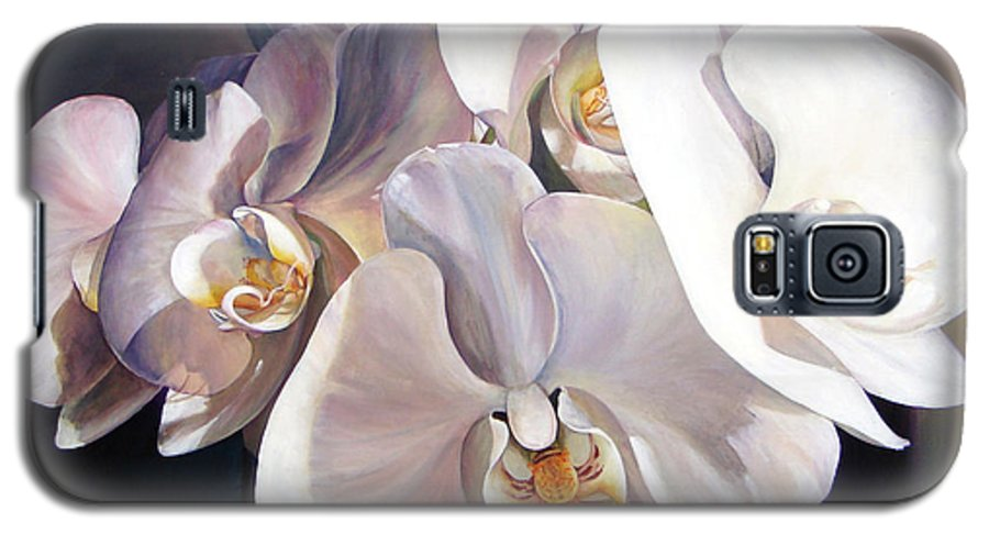 Floral Painting Galaxy S5 Case featuring the painting Orchidee by Muriel Dolemieux