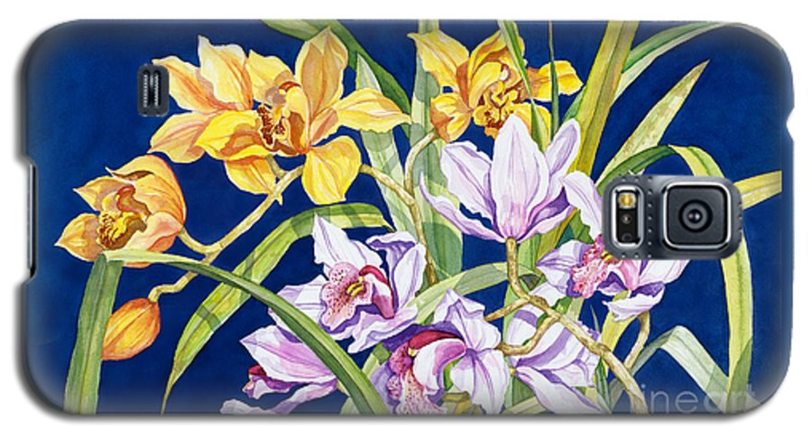 Orchids Galaxy S5 Case featuring the painting Orchids In Blue by Lucy Arnold
