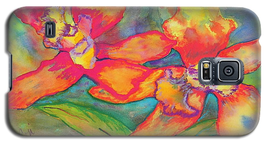 Flowers Galaxy S5 Case featuring the painting Orchids In Paradise by Cori Solomon