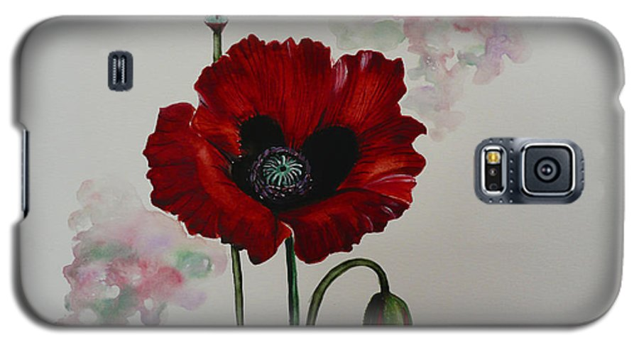 Floral Poppy Red Flower Galaxy S5 Case featuring the painting Oriental Poppy by Karin Dawn Kelshall- Best