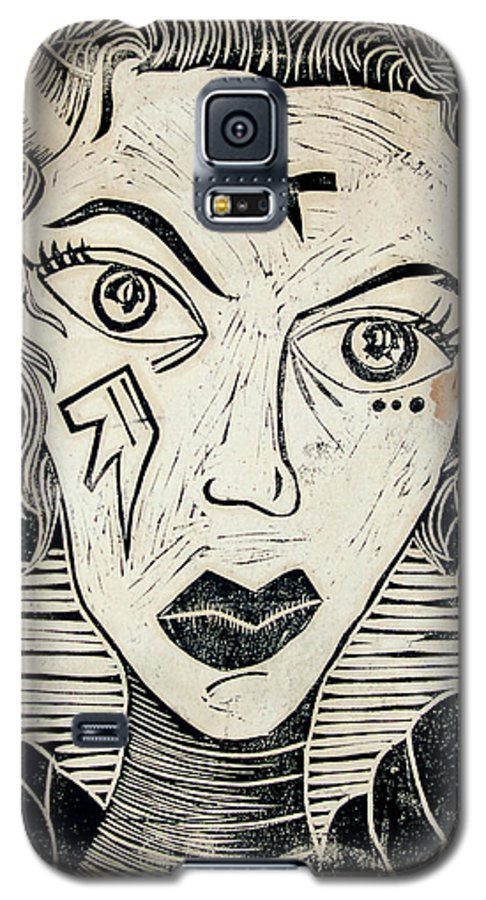 Block Print Galaxy S5 Case featuring the print Original Devil Block Print by Thomas Valentine