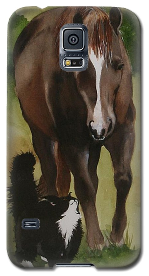 Horse Galaxy S5 Case featuring the painting Oscar And Friend by Jean Blackmer
