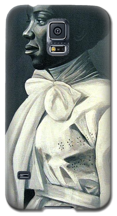 Portrait Galaxy S5 Case featuring the painting Out Of The Box Woman In Large White Bow by Joyce Owens