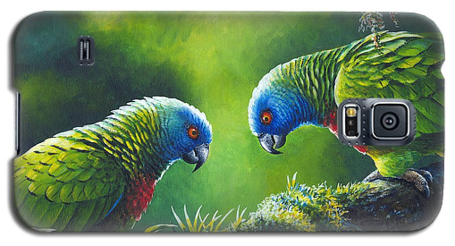 Chris Cox Galaxy S5 Case featuring the painting Out On A Limb - St. Lucia Parrots by Christopher Cox