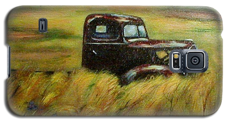 Vintage Truck Galaxy S5 Case featuring the painting Out To Pasture by Gail Kirtz