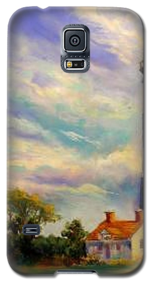 Lighthouse Galaxy S5 Case featuring the painting Outer Banks Lighthouse by Lynee Sapere
