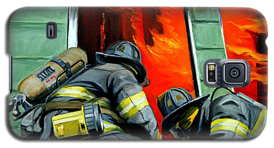 Firefighting Galaxy S5 Case featuring the painting Outside Roof by Paul Walsh
