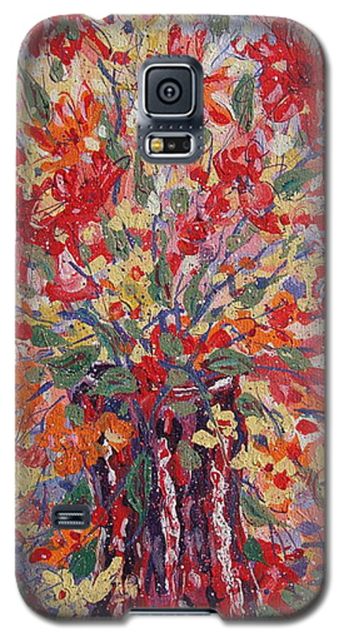 Painting Galaxy S5 Case featuring the painting Overflowing Flowers. by Leonard Holland