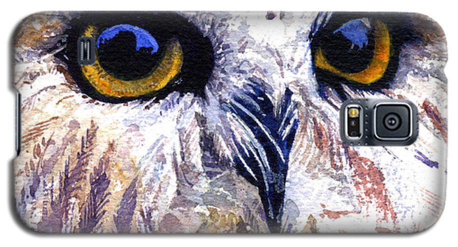 Eye Galaxy S5 Case featuring the painting Owl by John D Benson