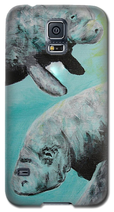 Florida Galaxy S5 Case featuring the painting Pair Of Florida Manatees by Susan Kubes