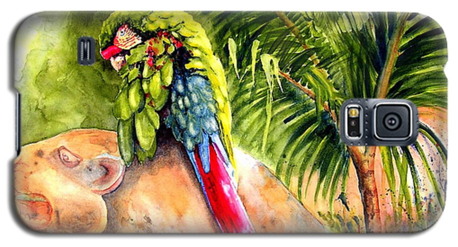 Parrot Galaxy S5 Case featuring the painting Pajaro by Karen Stark