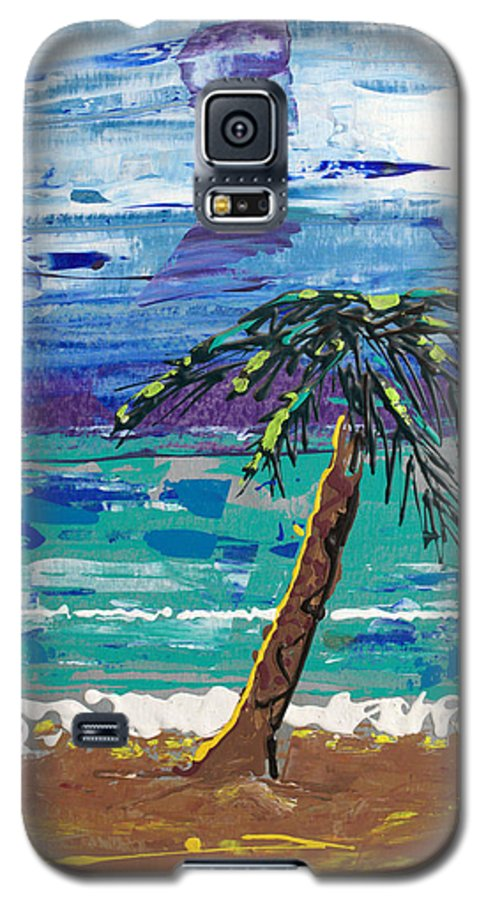Palm Tree Galaxy S5 Case featuring the painting Palm Beach by J R Seymour