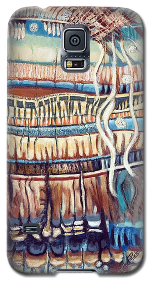 Abstract Galaxy S5 Case featuring the painting Palm Contractions by Kerryn Madsen-Pietsch