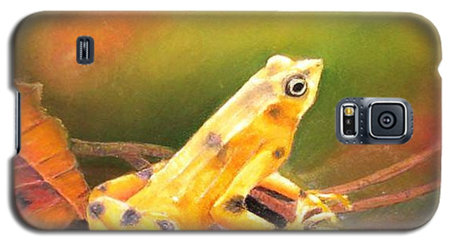 Endangered Galaxy S5 Case featuring the painting Panamenian Golden Frog by Ceci Watson