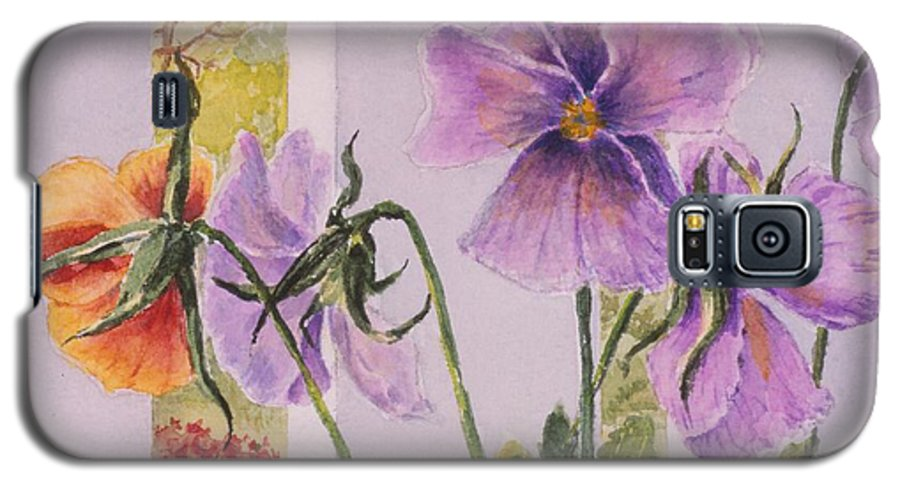 Florals Galaxy S5 Case featuring the painting Pansies On My Porch by Mary Ellen Mueller Legault
