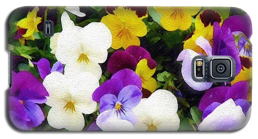Pansies Galaxy S5 Case featuring the photograph Pansies by Sandy MacGowan