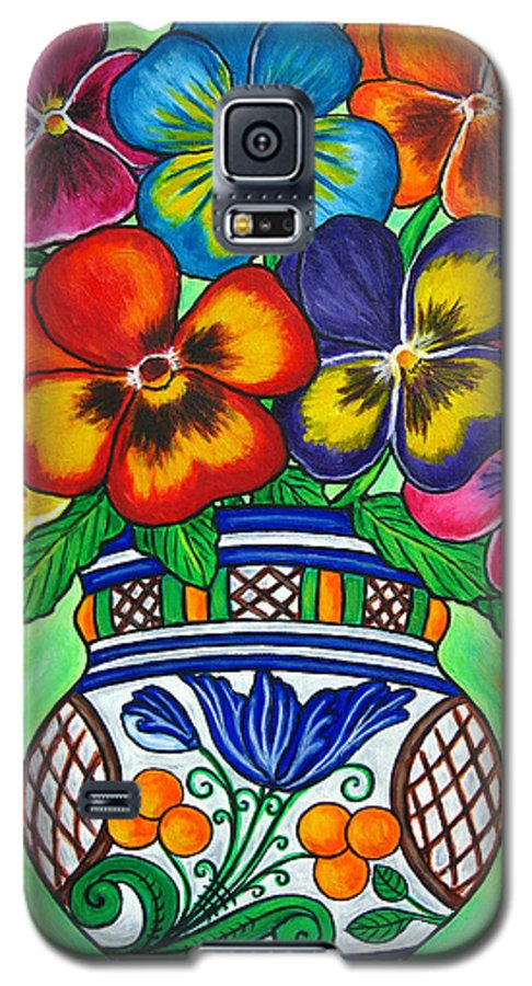 Flower Galaxy S5 Case featuring the painting Pansy Parade by Lisa Lorenz
