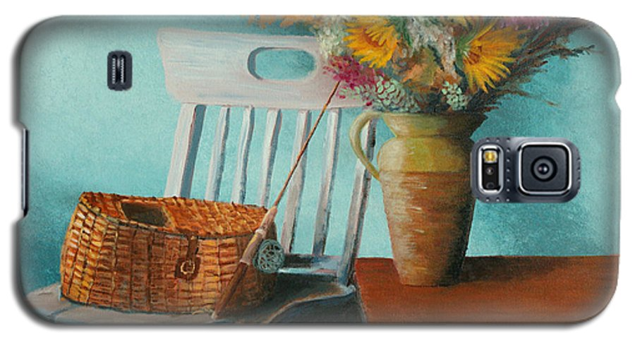 Floral Galaxy S5 Case featuring the painting Papa's Pole by Jerry McElroy
