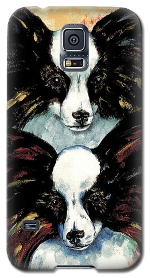Papillon Galaxy S5 Case featuring the painting Papillon De Mardi Gras by Kathleen Sepulveda