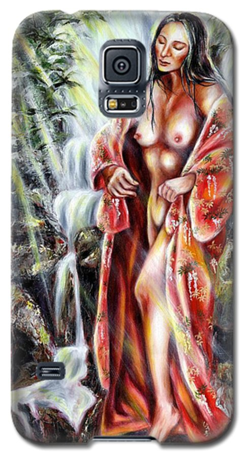 Japanese Woman Galaxy S5 Case featuring the painting Paradise by Hiroko Sakai