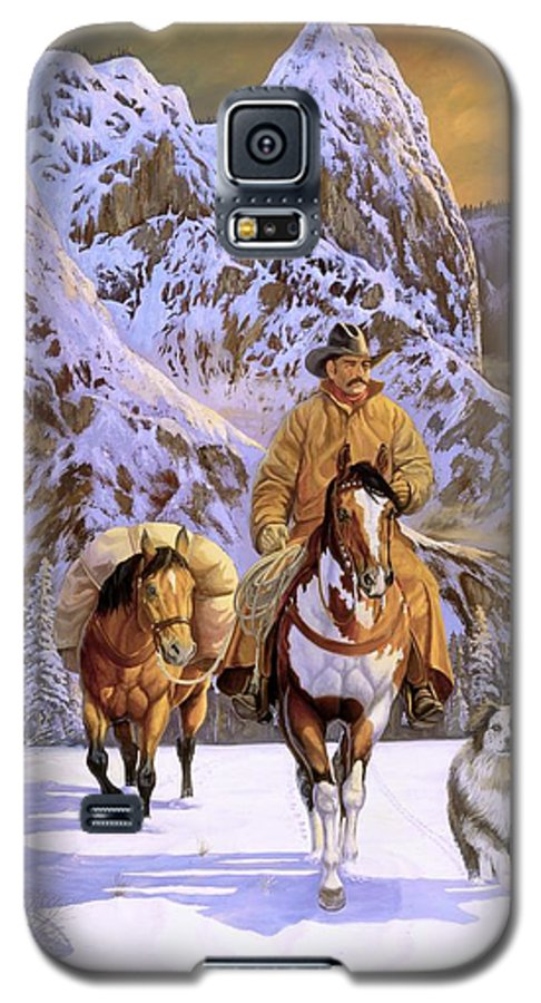 Cowboy Galaxy S5 Case featuring the painting Pardners by Howard Dubois