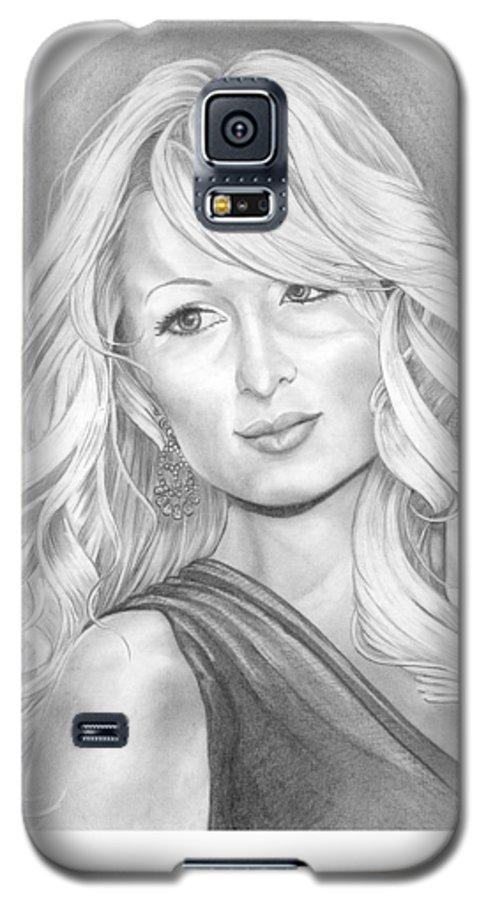 Portrait Galaxy S5 Case featuring the drawing Paris Hilton by Murphy Elliott