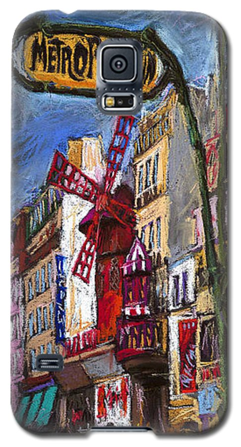 Cityscape Galaxy S5 Case featuring the painting Paris Mulen Rouge by Yuriy Shevchuk