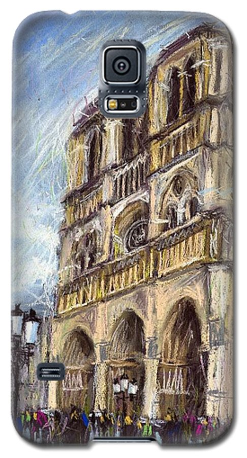Cityscape Galaxy S5 Case featuring the pastel Paris Notre-dame De Paris by Yuriy Shevchuk