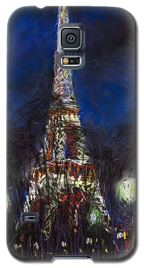 Pastel Galaxy S5 Case featuring the painting Paris Tour Eiffel by Yuriy Shevchuk