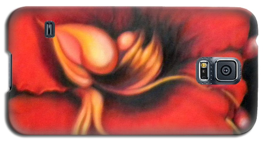 Red Surreal Bloom Artwork Galaxy S5 Case featuring the painting Passion Flower by Jordana Sands