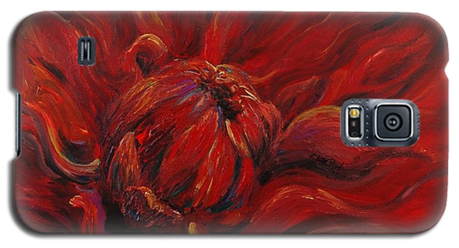 Red Galaxy S5 Case featuring the painting Passion II by Nadine Rippelmeyer