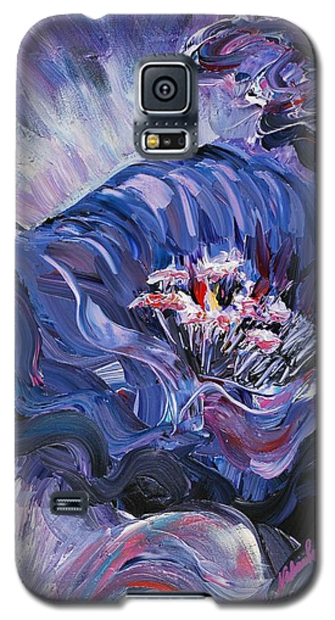 Blue Galaxy S5 Case featuring the painting Passion In Blue by Nadine Rippelmeyer