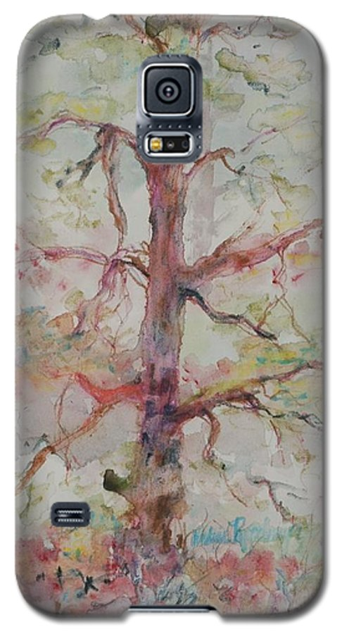 Forest Galaxy S5 Case featuring the painting Pastel Forest by Nadine Rippelmeyer