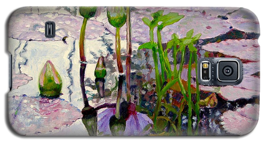 Water Lily Pond Galaxy S5 Case featuring the painting Pastel Light by John Lautermilch
