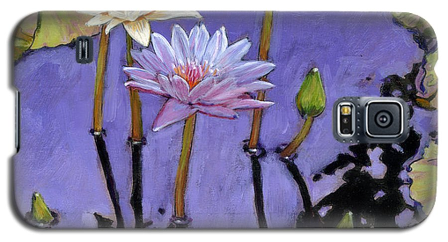 Water Lilies Galaxy S5 Case featuring the painting Pastel Petals by John Lautermilch