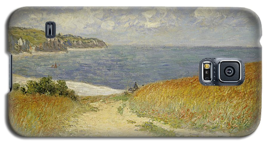 Path In The Wheat At Pourville Galaxy S5 Case featuring the painting Path In The Wheat At Pourville by Claude Monet