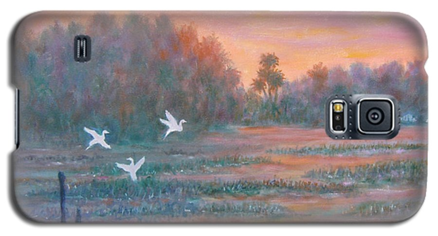 Low Country; Egrets; Sunset Galaxy S5 Case featuring the painting Pawleys Island by Ben Kiger