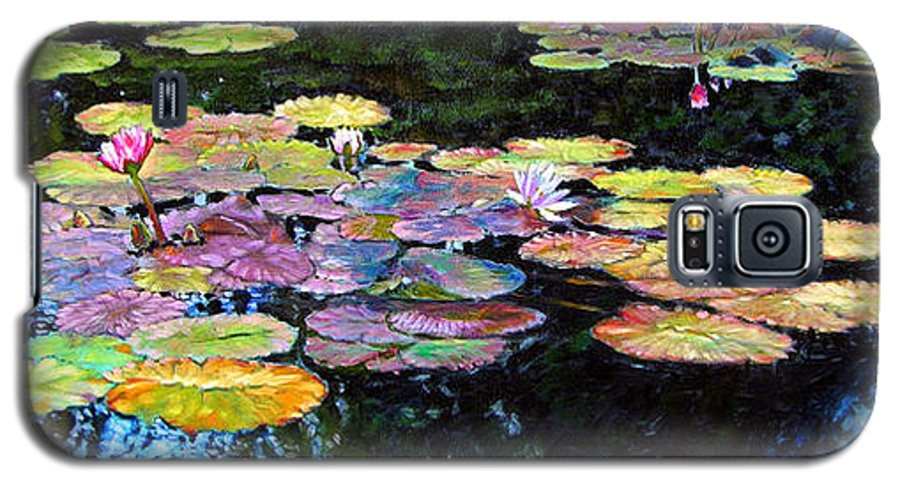 Water Lilies Galaxy S5 Case featuring the painting Peace Among The Lilies by John Lautermilch