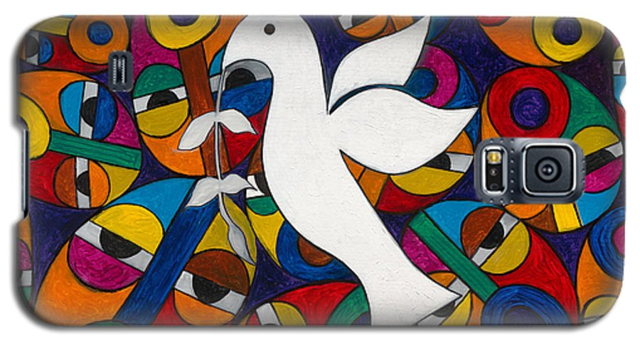 Dove Galaxy S5 Case featuring the painting Peace On Earth by Emeka Okoro