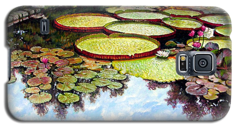 Landscape Galaxy S5 Case featuring the painting Peaceful Refuge by John Lautermilch
