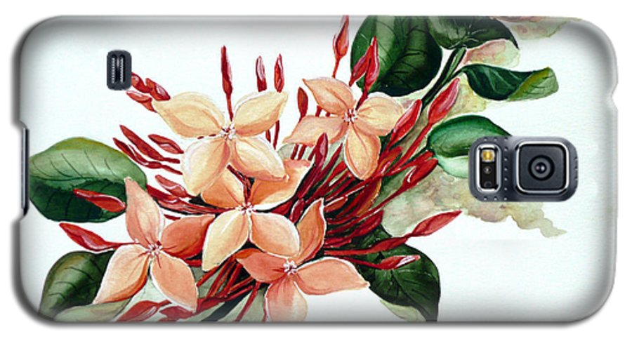 Floral Peach Flower Watercolor Ixora Botanical Bloom Galaxy S5 Case featuring the painting Peachy Ixora by Karin Dawn Kelshall- Best