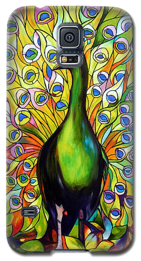 Bird Galaxy S5 Case featuring the painting Peacock by Jose Manuel Abraham