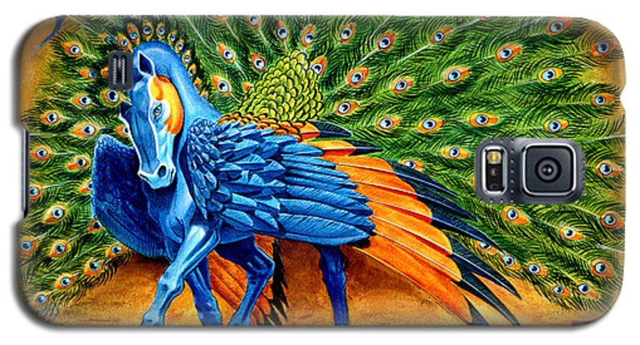 Horse Galaxy S5 Case featuring the painting Peacock Pegasus by Melissa A Benson